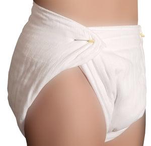 A model wearing the Rearz Adult Nighttime Prefold Diaper.