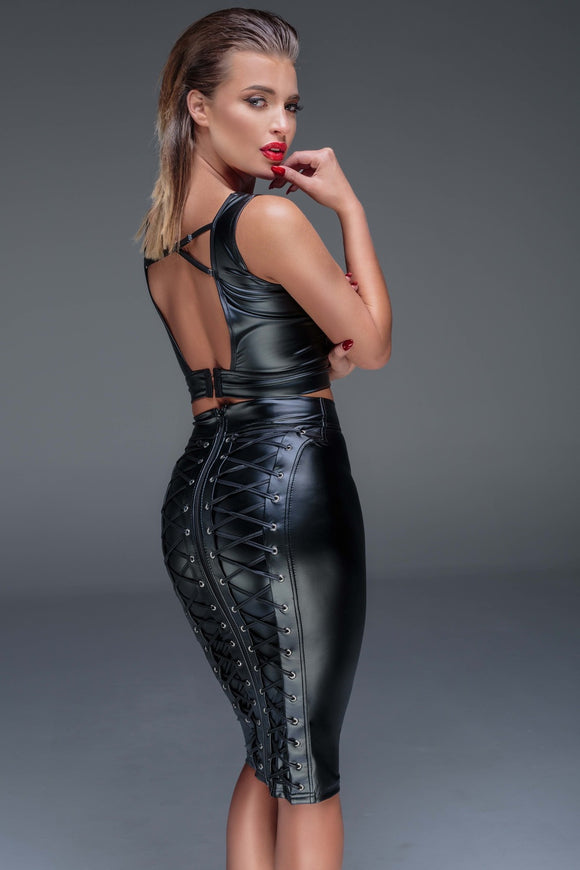 Wetlook Pencil Skirt w/ Lace Up Back