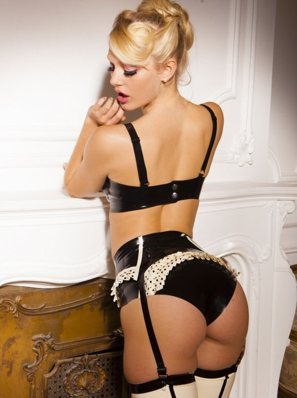 Latex Polka Dot Burlesque Garter Belt