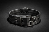 The back of the black Leather Puppy Collar.