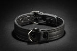 The front of the black Leather Puppy Collar.