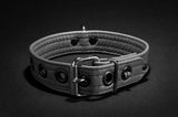 The back of the grey Leather Puppy Collar.