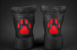 Close up of black/red open paw puppy gloves.