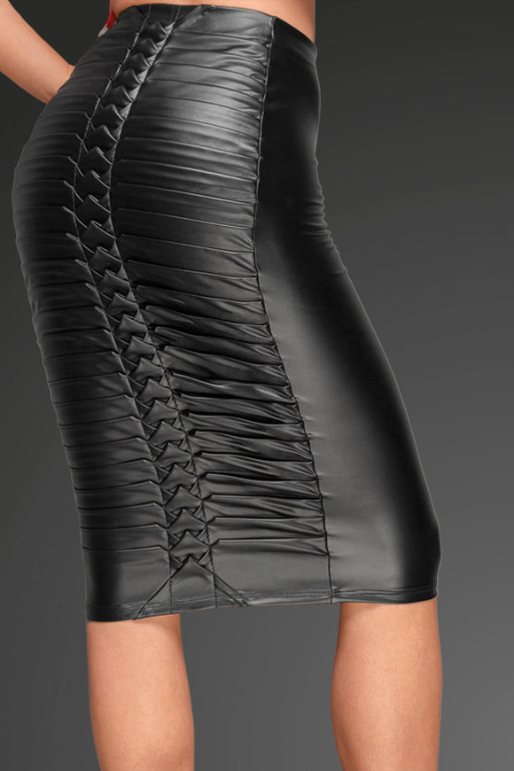 Power Pleat Wetlook Pencil Skirt