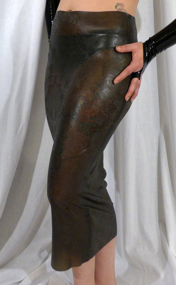 Textured Latex Midi Skirt