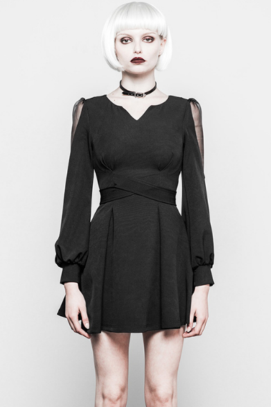 V Collar Long Sleeve Dress