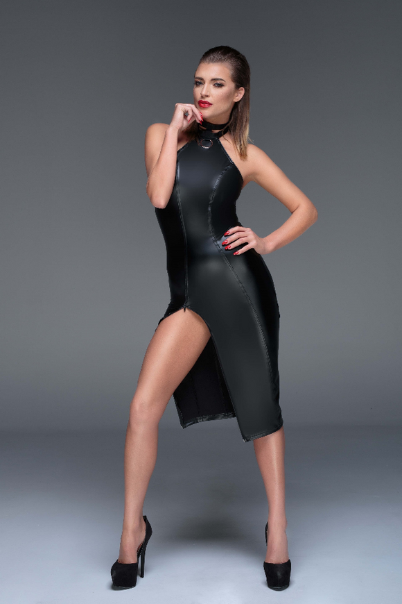 Power Wetlook 2 Way Zip Dress with Collar