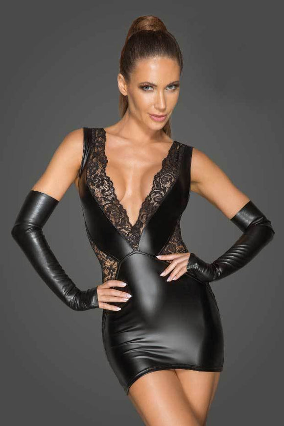 Power Wetlook and Lace Mini Dress