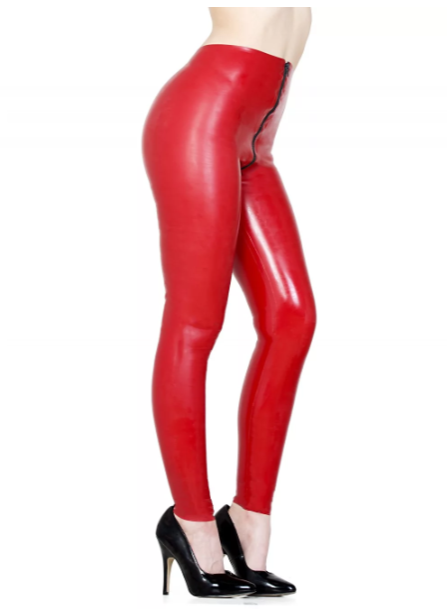 Latex Skinny Jeans with Zipper