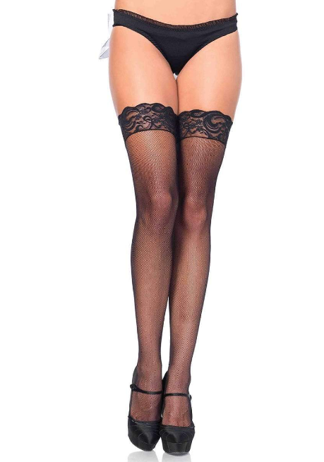 Stay Up Lace Top Micro Net Stockings