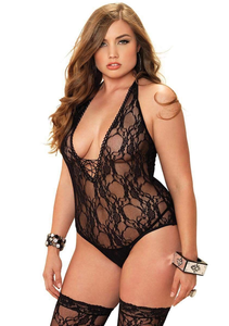 2PC Lace Teddy & Stockings Set