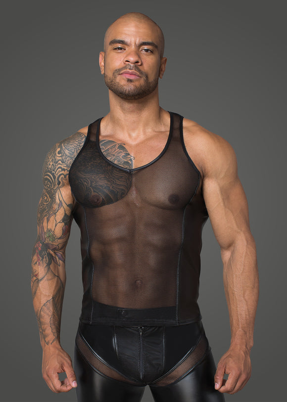 Net Tank Top with Power Wetlook Panels