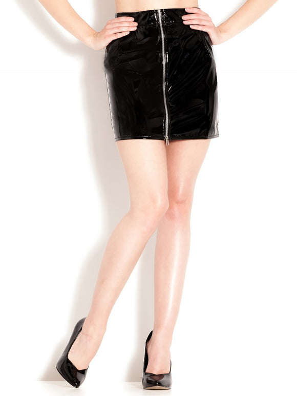PVC Zip Front Mini Skirt