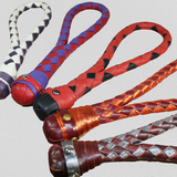 An assortment of colors of Braided Leather Loop Slappers