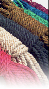 An assortment of colors of the Handspun 6mm Jute Rope.