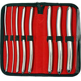 A collection of 8 Hegar Double Ended Urethral Sounds in a red unzipped case.