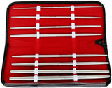 A collection of 8 Pratt Straight Urethral Sounds in a red unzipped case.