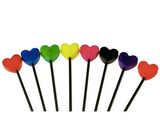 A rainbow of colors of the heart shaped Toy Lolipop.