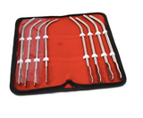A collection of 8 Van Buren Urethral Sounds in a red unzipped case.