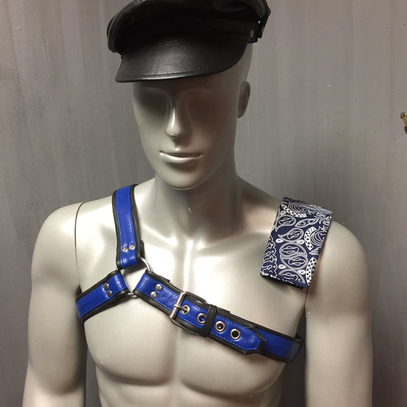 Blue Asymmetrical harness left  buckle front view