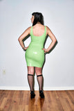 Latex Label Mini Tank Dress