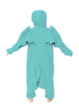 A model showing the rear of the Cthulhu Adult Kigurumi Onesie.