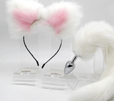 Pink and white Small Tail Plug + Ears Kit.