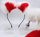 Red and white Small Tail Plug + Ears Kit.