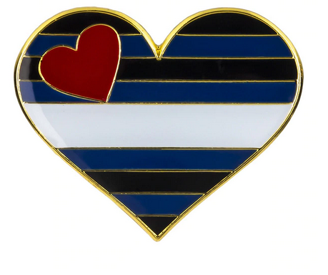Enamel Pride Flag Heart Pin Leather  Pride