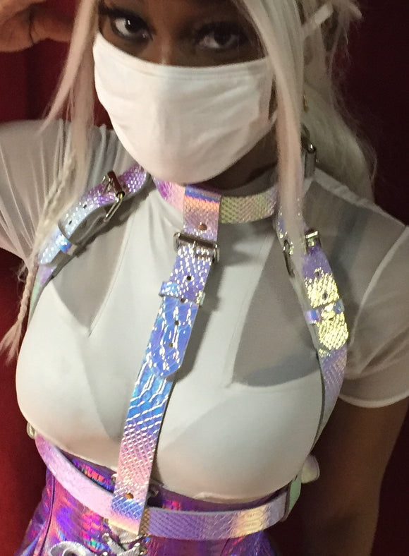 Triple Strap Belted Harness with Choker