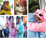 A collage of photos of people wearing different Japanese Fleece Kigurumi Onesies.