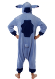 A model displaying the reare of an Adult Stitch Kigurumi Onesie.