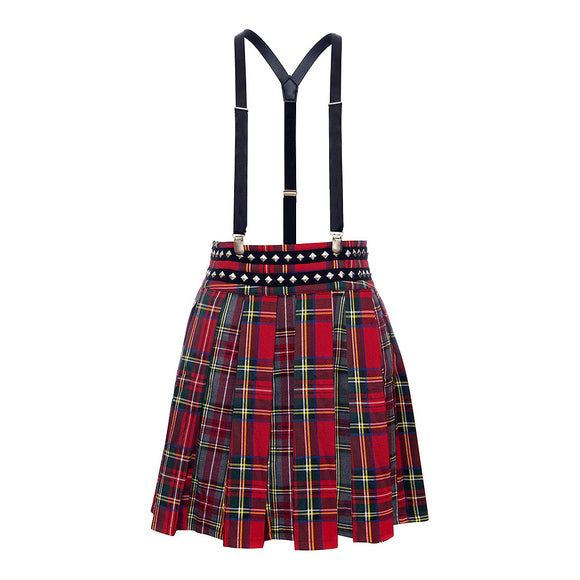 Tartan Skirt with Suspenders