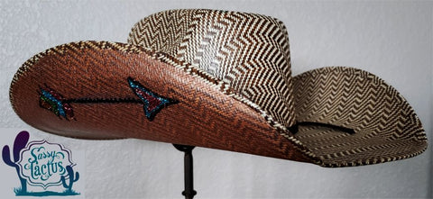 Bling Arrow Straw Cowboy Hat - Size 6 3/4 - IN STOCK