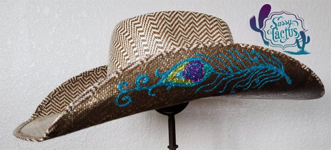Brown and Teal Peacock Straw Cowboy Hat - Size 6 7/8 - IN STOCK