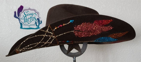 54a6a55ab403a ... Turquoise and Brown Dreamcatcher Bling Felt Cowboy Hat Size 7 IN STOCK