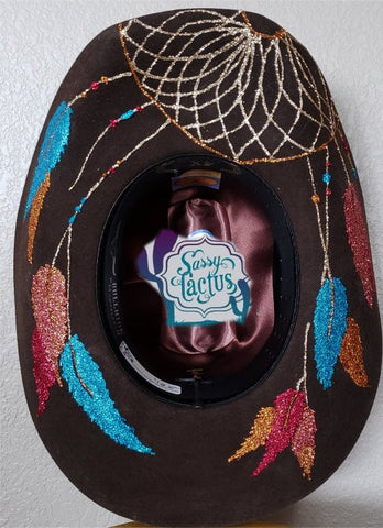 Turquoise and Brown Dreamcatcher Bling Felt Cowboy Hat Size 7 IN STOCK