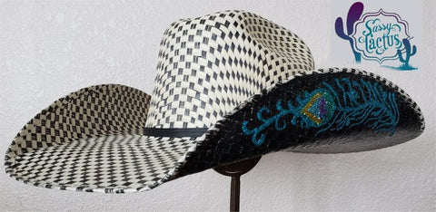 Peacock Hand Painted Straw Cowboy Hat Size 6 7/8 - IN STOCK