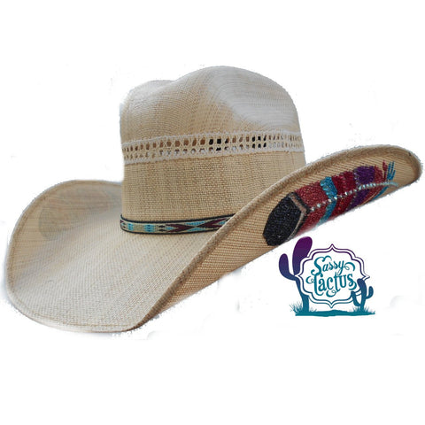 IN STOCK Aztec Bling Feather Straw Cowboy Hat - Size 6 7/8
