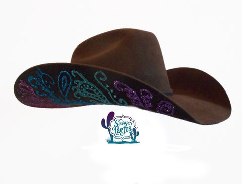 Paisley Bling Brown Felt Cowboy Hat