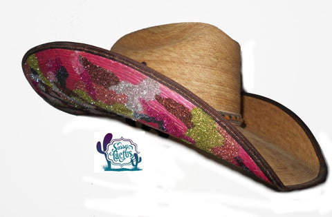 Pink Camo Glitter Hand Painted Straw Cowboy Hat – Sassy Cactus 5dcc749fbba