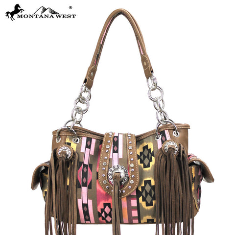 Montana West Aztec Collection Fringe Handbag