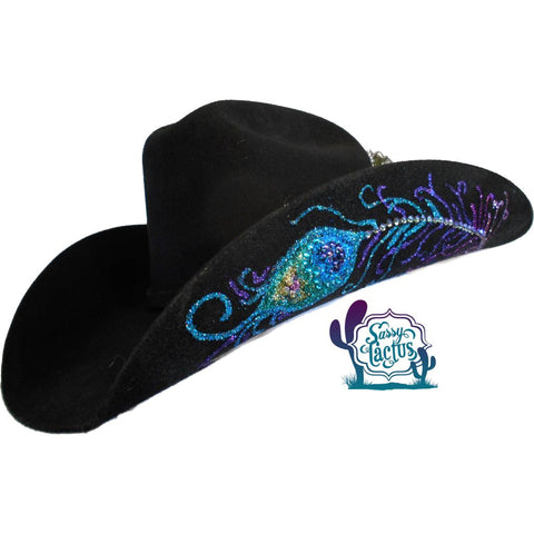 peacock feather bling custom painted cowboy hat