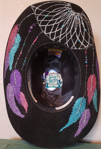 Pink, Purple, Turquoise Dreamcatcher Bling Felt Cowboy Hat Size 6 3/4 IN STOCK