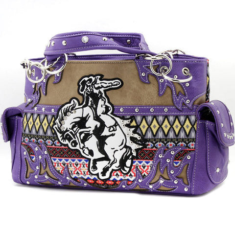 Purple Aztec Rodeo Bronc Concealed Carry Purse