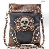 Mini Messenger Handbag Black Bling Skull
