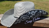 Black and Silver Paisley Hand Painted Straw Cowboy Hat