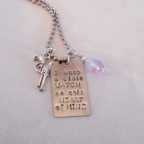 Walk the Line Stamped Pistol Necklace