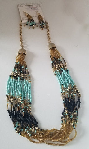 Turquoise and Tan Beaded Necklace and Earring Set