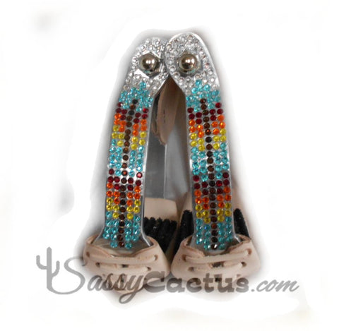 Bling Stirrups - Swarovski Rhinestone Aztec Feather Design
